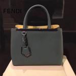 FENDI 253A-12 專櫃早春新款鐵灰色原版西班牙牛皮琺瑯裝飾條手提單肩包