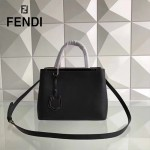 FENDI 253A-3 專櫃早春新款黑色原版西班牙牛皮琺瑯裝飾條手提單肩包