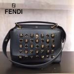 FENDI 8292-2 專櫃限量版GOLD EDITION黑色原版牛皮有機玻璃鉚釘手提單肩包