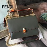 FENDI 9145 春夏時裝秀KAN I軍綠色原版牛皮扇形邊設計手提單肩包