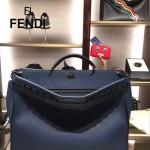 FENDI 8516 都市型男藍色原版牛皮手工縫線鉚釘裝飾手提單肩包