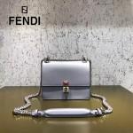 FENDI 0381-3 早春新款KAN I灰色原版水軟牛皮鉚釘搭扣單肩斜挎包