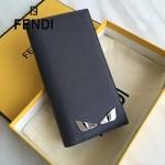 FENDI 0189-3 商務男士SELLERIA小怪獸眼睛貼片灰色原版牛皮長款西裝夾