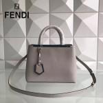 FENDI 253A-2 專櫃早春新款灰色原版西班牙牛皮琺瑯裝飾條手提單肩包