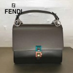 FENDI 0381-6 早春新款KAN I軍綠色原版水軟牛皮鉚釘搭扣單肩斜挎包