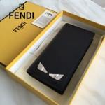 FENDI 0189 商務男士SELLERIA小怪獸眼睛貼片黑色原版牛皮長款西裝夾