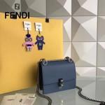 FENDI 0381-7 早春新款KAN I藍色原版水軟牛皮鉚釘搭扣單肩斜挎包