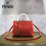 FENDI 253A-10 專櫃早春新款紅色原版西班牙牛皮琺瑯裝飾條手提單肩包