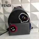 FENDI 2319-2 專櫃新品羊毛笑臉圖案原單黑色尼龍面料配灰色牛皮休閒雙肩包
