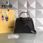 FENDI 2107DM-2 春夏秀場新款PEEKABOO灰色原版牛皮亞克力鉚釘手提單肩包
