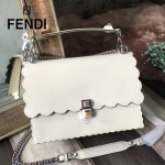 FENDI 9145-2 春夏時裝秀KAN I白色原版牛皮扇形邊設計手提單肩包