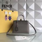 FENDI 253A-7 專櫃早春新款灰色原版西班牙牛皮琺瑯裝飾條手提單肩包