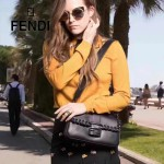 FENDI 7783-4 專櫃秀場新款BAGUETTE黑色原版小牛皮編織裝飾單肩小包