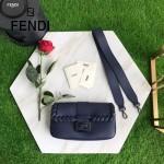 FENDI 7783-2 專櫃秀場新款BAGUETTE藍色原版小牛皮編織裝飾單肩小包