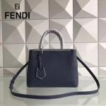 FENDI 253A 專櫃早春新款藍色原版西班牙牛皮琺瑯裝飾條手提單肩包