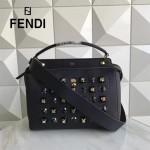 FENDI 8292 專櫃限量版GOLD EDITION寶藍色原版牛皮有機玻璃鉚釘手提單肩包