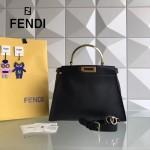 FENDI 6108BM-2 專櫃限量版PEEKABOO黑色原版西班牙牛皮24白K金五金手提單肩包