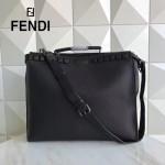 FENDI 8516-2 都市型男黑色原版牛皮手工縫線鉚釘裝飾手提單肩包