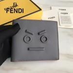 FENDI 0195-2 潮流新款無語表情金屬貼片灰色原版牛皮短款錢包