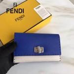 FENDI 0308-4 專櫃最新款紐鎖扣設計拼色原版牛皮手工縫線長款錢包