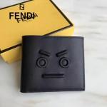 FENDI 0195 潮流新款無語表情金屬貼片黑色原版牛皮短款錢包