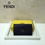 FENDI 0308-6 專櫃最新款紐鎖扣設計黑色原版牛皮手工縫線長款錢包