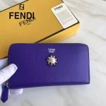 FENDI 0299-6 時尚女士CRAYONS花朵裝飾紫色原版牛皮長款拉鏈錢包