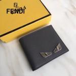 FENDI 0169-22 型男必備SELLERIA小怪獸眼睛貼片灰色原版牛皮短款錢包