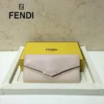 FENDI 0306-2 甜美少女風淺粉色原版平紋配十字紋搭扣長款錢包