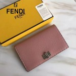 FENDI 0308 專櫃最新款紐鎖扣設計粉色原版牛皮手工縫線長款錢包