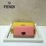 FENDI 0308-3 專櫃最新款紐鎖扣設計拼色原版牛皮手工縫線長款錢包