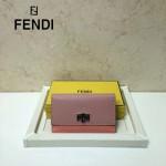 FENDI 0308-5 專櫃最新款紐鎖扣設計拼色原版牛皮手工縫線長款錢包