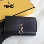 FENDI 0383 專櫃最新鉚釘裝飾黑色原版牛皮中長款錢包手拿包