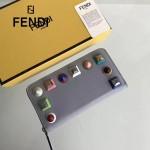 FENDI 0299-10 專櫃新品藍色原版牛皮彩色鉚釘裝飾長款拉鏈錢包