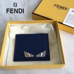 FENDI 0165-2 時尚新款2JOURS小怪獸眼睛金屬貼片藍色原版牛皮6卡位卡片夾