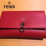 FENDI 0383-4 專櫃最新鉚釘裝飾紅色原版牛皮中長款錢包手拿包
