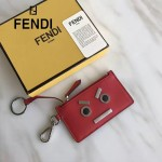 FENDI 0235-SL9-3 小巧纖薄無語表情貼片紅色原版牛皮拉鏈零錢包鑰匙包