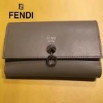 FENDI 0383-3 專櫃最新鉚釘裝飾灰色原版牛皮中長款錢包手拿包