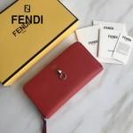 FENDI 0212-4 專櫃最新鉚釘裝飾紅色原版牛皮長款拉鏈錢包