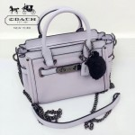 COACH-37395 專櫃爆款限量版香芋紫鐵鏈拼肩帶配送羽毛球女士手提單肩斜挎包