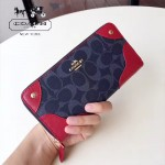 COACH-53780 新款pvc配皮材質經典花紋女士長款拉鏈錢包