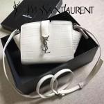 YSL 452322E 高端奢華白色原版鱷魚紋牛皮單肩斜挎包蝙蝠包