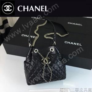 CHANEL 0583 官網同步黑色原版小羊皮手提單肩包水桶包