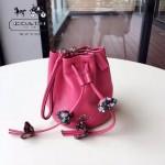 COACH-56581 超級可愛女士潮流新款玫紅色手拎包