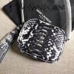YSL 425317-2 高貴奢華新款原單黑白花紋蛇皮單肩斜挎包相機包