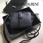 YSL 452322E-2 高端奢華黑色原版鱷魚紋牛皮單肩斜挎包蝙蝠包