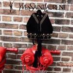 YSL 454072 歐美朋克風鉚釘裝飾黑色原版磨砂皮單肩斜挎包水桶包