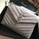 YSL 459749-2 時尚百搭灰色原版羊皮大容量單肩斜挎包