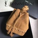 YSL 454072-3 歐美朋克風鉚釘裝飾黃色原版磨砂皮單肩斜挎包水桶包