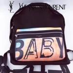 YSL 9903 雪梨同款多色BABY字母印花黑色原版尼龍面料配皮休閒雙肩包